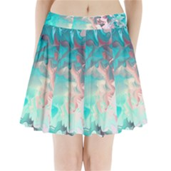 Background Art Abstract Watercolor Pleated Mini Skirt