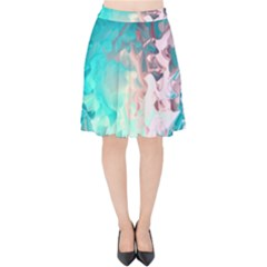 Background Art Abstract Watercolor Velvet High Waist Skirt