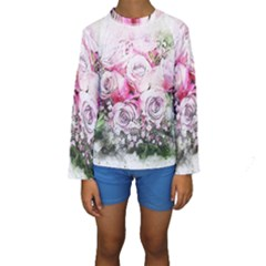 Flowers Bouquet Art Nature Kids  Long Sleeve Swimwear
