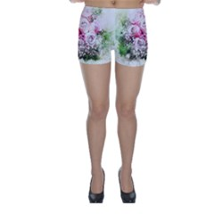 Flowers Bouquet Art Nature Skinny Shorts