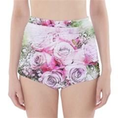Flowers Bouquet Art Nature High Waisted Bikini Bottoms