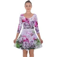 Flowers Bouquet Art Nature Quarter Sleeve Skater Dress