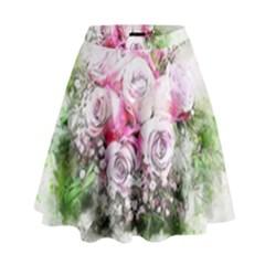 Flowers Bouquet Art Nature High Waist Skirt
