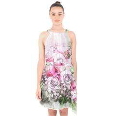 Flowers Bouquet Art Nature Halter Collar Waist Tie Chiffon Dress