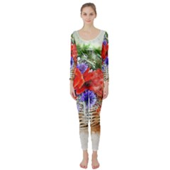 Flowers Bouquet Art Nature Long Sleeve Catsuit