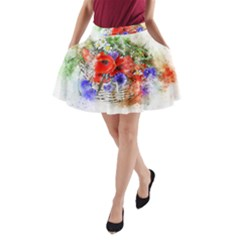 Flowers Bouquet Art Nature A Line Pocket Skirt