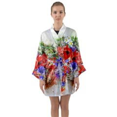 Flowers Bouquet Art Nature Long Sleeve Kimono Robe