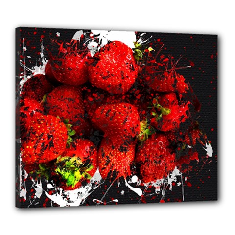 Strawberry Fruit Food Art Abstract Canvas 24  X 20