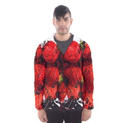 Strawberry Fruit Food Art Abstract Hooded Wind Breaker (men)