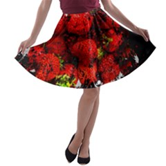 Strawberry Fruit Food Art Abstract A Line Skater Skirt