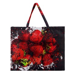 Strawberry Fruit Food Art Abstract Zipper Large Tote Bag