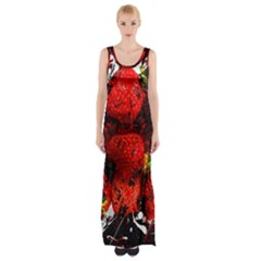 Strawberry Fruit Food Art Abstract Maxi Thigh Split Dress