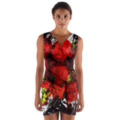 Strawberry Fruit Food Art Abstract Wrap Front Bodycon Dress