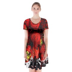 Strawberry Fruit Food Art Abstract Short Sleeve V Neck Flare Dress