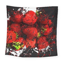 Strawberry Fruit Food Art Abstract Square Tapestry (large) by Nexatart