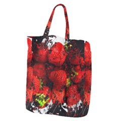 Strawberry Fruit Food Art Abstract Giant Grocery Zipper Tote by Nexatart