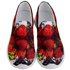 Strawberry Fruit Food Art Abstract Men s Lightweight Slip Ons by Nexatart