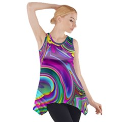 Background Art Abstract Watercolor Side Drop Tank Tunic