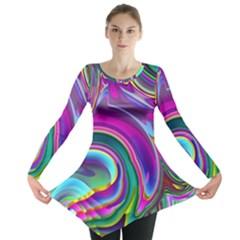 Background Art Abstract Watercolor Long Sleeve Tunic
