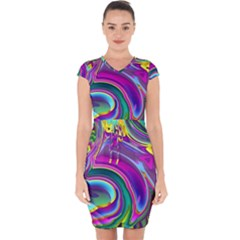 Background Art Abstract Watercolor Capsleeve Drawstring Dress