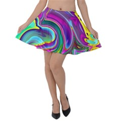 Background Art Abstract Watercolor Velvet Skater Skirt