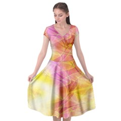 Background Art Abstract Watercolor Cap Sleeve Wrap Front Dress