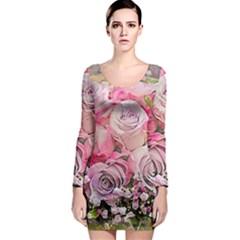 Flowers Bouquet Wedding Art Nature Long Sleeve Bodycon Dress