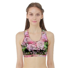 Flowers Bouquet Wedding Art Nature Sports Bra With Border
