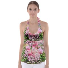 Flowers Bouquet Wedding Art Nature Babydoll Tankini Top