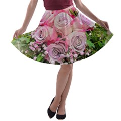 Flowers Bouquet Wedding Art Nature A Line Skater Skirt