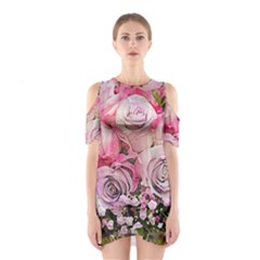 Flowers Bouquet Wedding Art Nature Shoulder Cutout One Piece