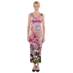 Flowers Bouquet Wedding Art Nature Fitted Maxi Dress