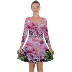 Flowers Bouquet Wedding Art Nature Quarter Sleeve Skater Dress