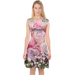 Flowers Bouquet Wedding Art Nature Capsleeve Midi Dress