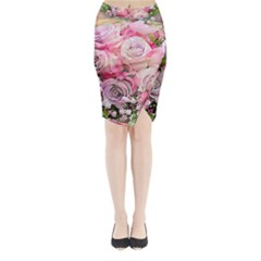 Flowers Bouquet Wedding Art Nature Midi Wrap Pencil Skirt