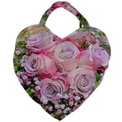 Flowers Bouquet Wedding Art Nature Giant Heart Shaped Tote by Nexatart