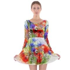 Flowers Bouquet Art Nature Long Sleeve Skater Dress