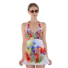 Flowers Bouquet Art Nature Halter Dress Swimsuit