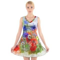 Flowers Bouquet Art Nature V Neck Sleeveless Skater Dress