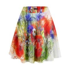 Flowers Bouquet Art Nature High Waist Skirt by Nexatart