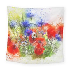 Flowers Bouquet Art Nature Square Tapestry (large)
