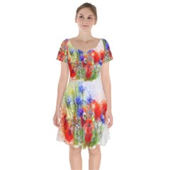 Flowers Bouquet Art Nature Short Sleeve Bardot Dress