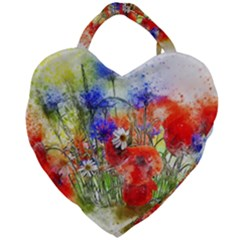 Flowers Bouquet Art Nature Giant Heart Shaped Tote by Nexatart