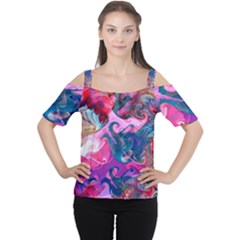 Background Art Abstract Watercolor Cutout Shoulder Tee