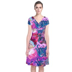 Background Art Abstract Watercolor Short Sleeve Front Wrap Dress