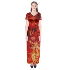 Background Art Abstract Watercolor Short Sleeve Maxi Dress