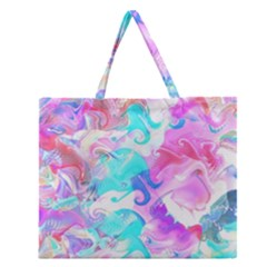 Background Art Abstract Watercolor Pattern Zipper Large Tote Bag