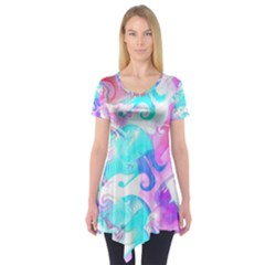 Background Art Abstract Watercolor Pattern Short Sleeve Tunic
