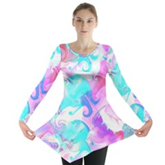 Background Art Abstract Watercolor Pattern Long Sleeve Tunic