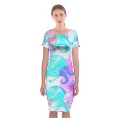 Background Art Abstract Watercolor Pattern Classic Short Sleeve Midi Dress